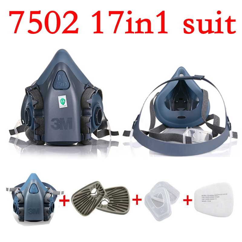 17 in 1 half Face Respirator 3M 7502 Gas mask Spray Painting Protection Respirator Dust mask 3m 7502 18 in 1 suit spraying painting respirator gas mask half face anti dust mask with 1621 safety protection goggles