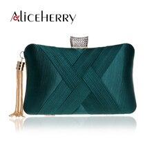 Bolsos de lujo para mujer, bolsos de diseñador de seda, bolso de noche para señora, satén, boda, verde, caja, bolso, bandolera de fiesta, borlas