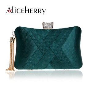 Image 1 - Luxury Handbags Women Bags Designer Silk Evening Bag Lady Satin Bridal Wedding Green Gold Box Purse Party Messenger Tassels