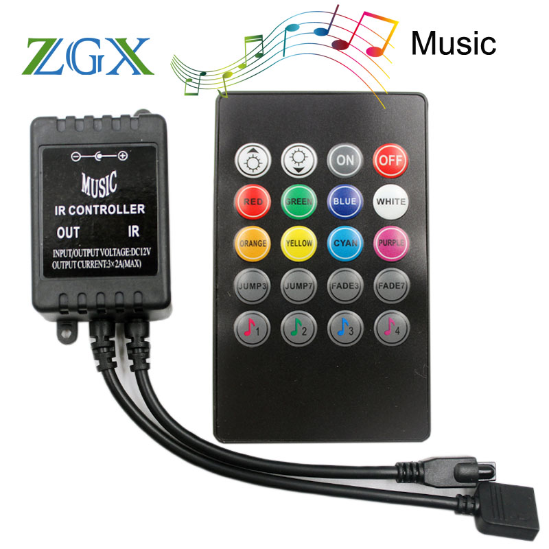 20 Keys IR Music Sync Remote Controller Sound Sensor For LED Strip Light Module Lamp Switch Wireless Touch DC 12V RGB Lighting