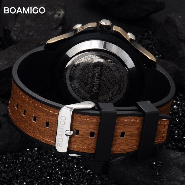 men sport watch dual display analog digital LED quartz watch wood design brown rubber band BOAMIGO Retro vintage punk watches