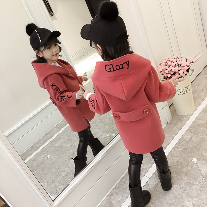 Hot sale Girls woolen coat 2018 new styles of fashion for children in spring and autumn and warm windcoat girls' long jacket boys girls children students waterproof digital wrist sport watch new desing hot sale 2017 spring dec14 send in 2 days
