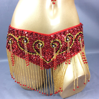 Free shipping New Women Belly Dance Clothing Accessories Belly Dancing Bead Sequins Wrap Hip Scarf Tassel Belt Bellydance Chain
