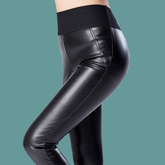 cd746ed75 women leather pants PU legging skinny pencil trousers femail patchwork woman  slim hips high elastic waist