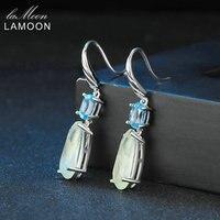 Lamoon 100% Natural TearDrop 6*14mm Prehnite+4*6mm Blue Topaz 925-Sterling-Silver Earrings Fine Jewelry for Women S925 LMEI056