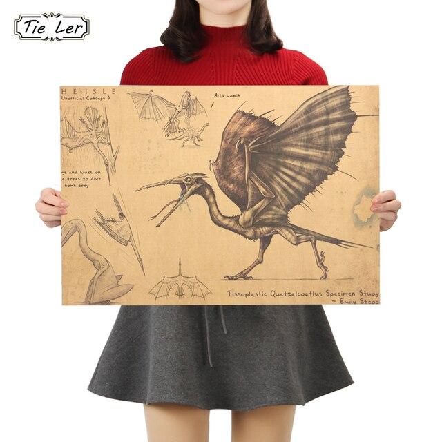 Tie ler quetzalcoatlus specimen study poster pterosaurs kraft paper cafe bar poster retro poster wall sticker