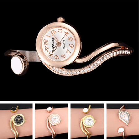 2017 New Arrival Luxury Brand Ladies 18K Gold Crystal Unique Design Women Quartz Watch Cuff Bangle Wristwatch Bracelet Relogio quartz cuff bangle