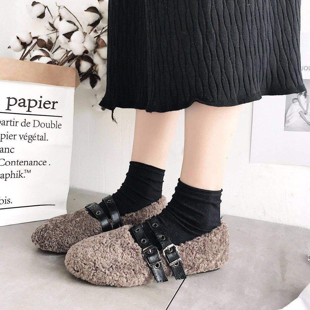 135fc317f87 Noir Peluche En Avec Fourrure Appartements Coton marron Hiver Chaussures  blanc Lmcavasun Femmes fzHqw