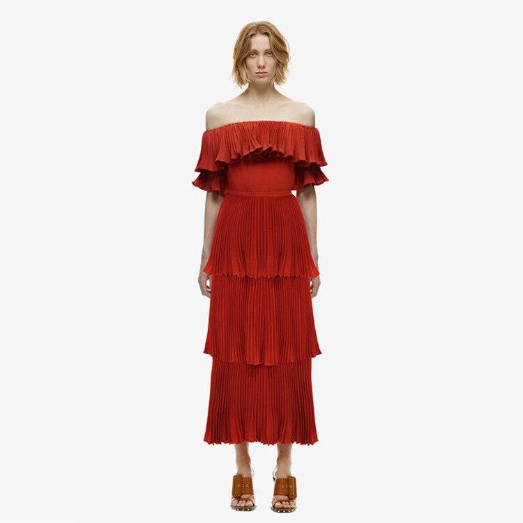 Rouge Robes Cou Longues Robe De Plissée Slash D'été Multi Femmes 2017 niveau Mode Red Vintage xTqYXcg