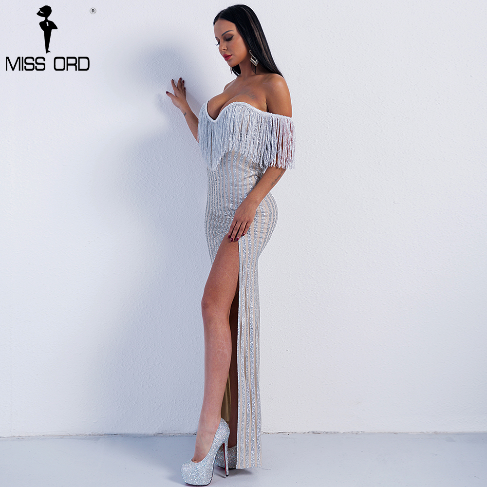 3fb7d892 Missord 2019 Sexy Elegant V Neck Off Shoulder Tassel Glitter High Split  Maxi Dress FT8950 1-in Dresses from Women's Clothing on Aliexpress.com |  Alibaba ...