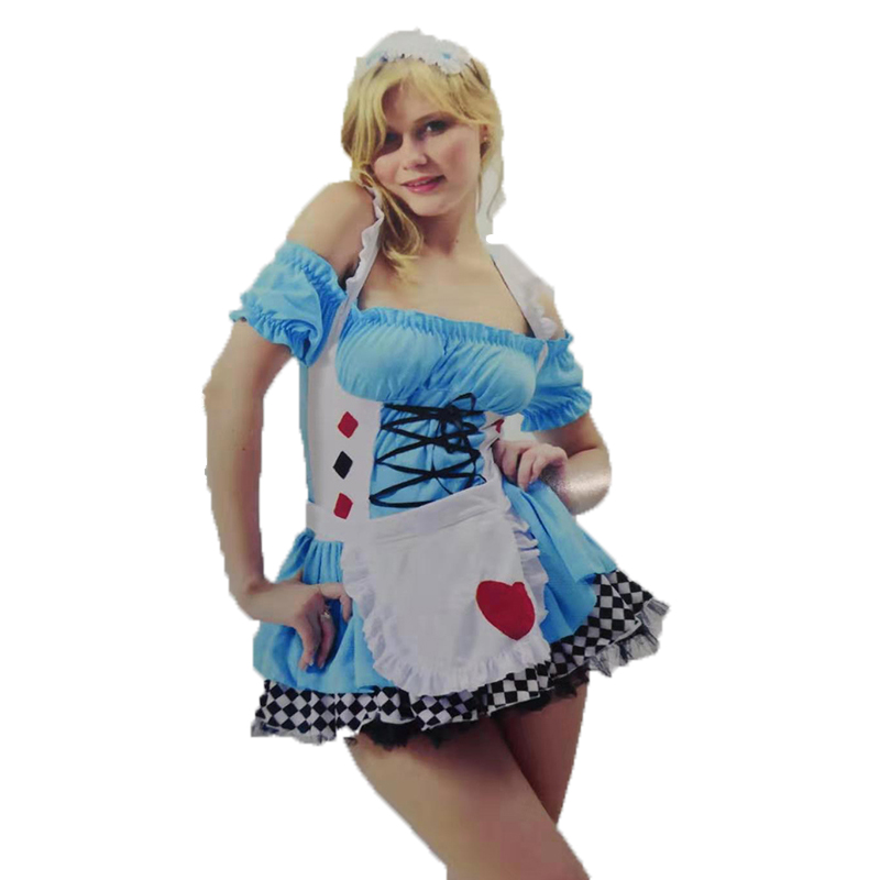 Halloween Sexy Dress Women Girls Alice in Wonderland Mosaic Color Red Star Cosplay Costumes Party Fancy Maid Dresses