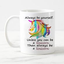 цена на Custom Funny unicorn Porcelain white coffee Mug tea Milk cup mugs for Birthday Christmas gift always be yourself