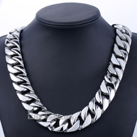 New Gift 24mm Super Heavy Chain Thick Silver Tone Flat Round Curb Link Men Chain 316L