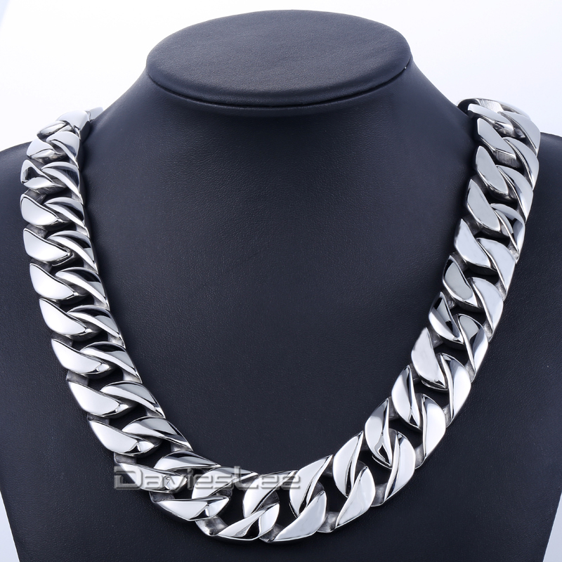 Davieslee 24mm Wide Men Chain Thick Silver Tone Flat Round Curb Link Men Chain 316L Stainless Steel Necklace Jewelry DLHN33