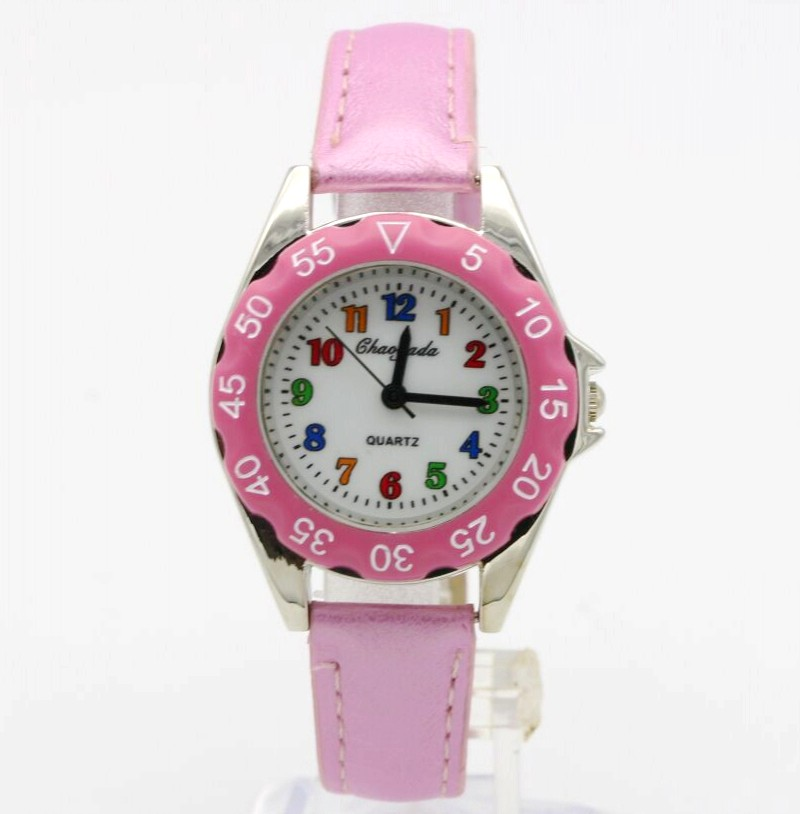 CYD Cute Boys Girls Quartz Watch Kids Children's Leather Strap Student Time Clock Wristwatch Gifts Colorful Number Dial Clock