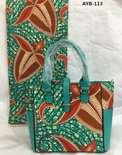 African wax print fabric 6 yards per lot african cotton fabric combine with 1 ladies handbag AYB-113