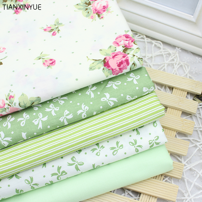 5 pcs Green bowknot cloth Farbic 100% Cotton Fabric For Sewing Patchwork Wallet  Brand Fabric 40cm*50cm