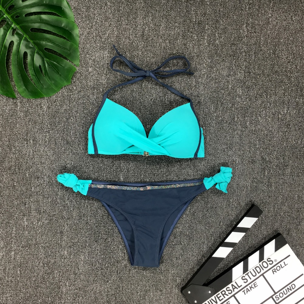 HTB121iOaInrK1RjSspkq6yuvXXaL Womens Push Up Two Piece Bikini Swimsuits Sexy 2019 Summer Hot Bathing Suit Triangle Side Knot Thong Swimwear Padded Adjustable