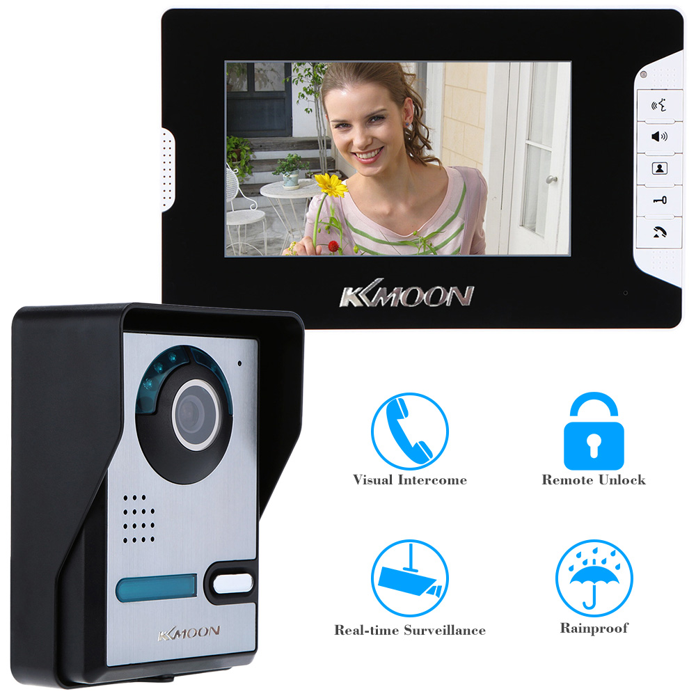 7 TFT Color LCD Moniter Video Door Phone Intercom Doorbell System Kit Unlock IR Night Vision