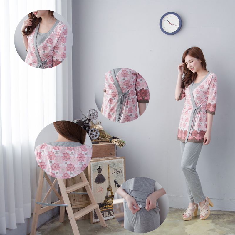 Maternity Nursing Pajamas set Soft Comfortable Breastfeeding Sleepwear Maternity Pajama Nightgown 3pcs Set