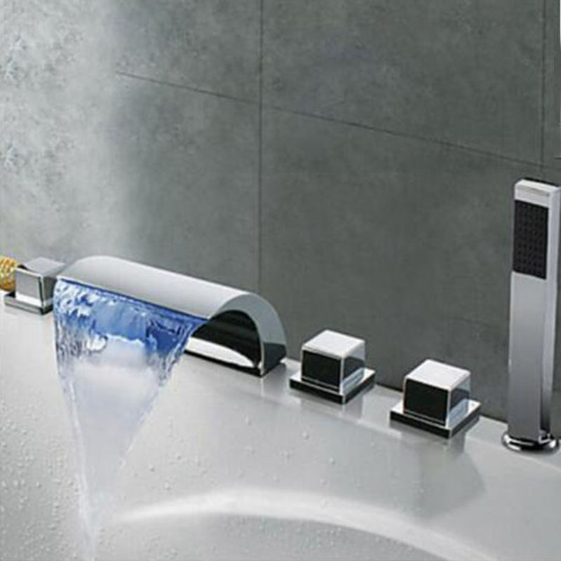 LED Color Changing Bathtub Faucet Waterfall Spout Tub Sink Mixer Tap ...