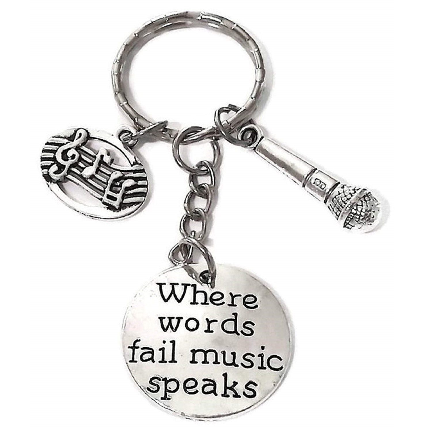 Singer Charm Pendant Music Microphone Art Professional Keychain Where Words Fail Music Speaks Unisex Alloy Jewelry key chain