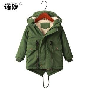Image 1 - ボーイズ冬のジャケット十代子羊カシミヤウインドブレーカー赤ちゃんカジュアル服子供トップス 2 9 T 厚みのフード付きベルベットジャケットコート