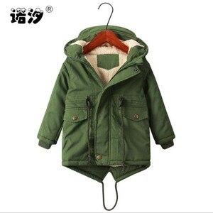 Image 1 - Meninos jaqueta de inverno adolescente cordeiro cashmere blusão bebê meninos roupas casuais criança topos 2 9 t engrossar casaco de veludo com capuz