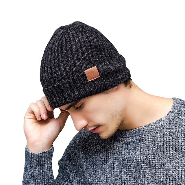 Winter Thick Knitted Beanies Solid Cuff Hats For Men Women Fleece Bonnet  Male Female Winter Caps f19cfd73d4f4