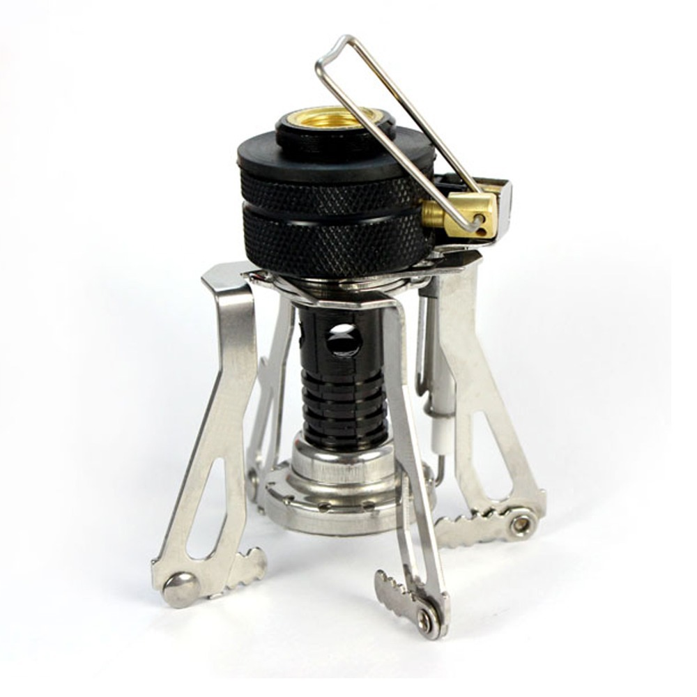 Portable Stove Mini Outdoor Burner Camping Hiking Picnic Gas Stove Foldable Electronic Ignition Steel Stoves Equipment EDC Tools