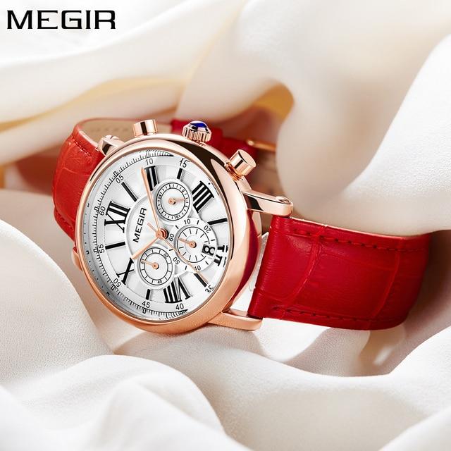 2018 Nuovo Megir Luxury Brand Signore di Modo Orologio Cronografo di Sport del Vestito Donne Orologi In Oro Rosa Quarzo Orologio Da Polso In Pelle Rossa