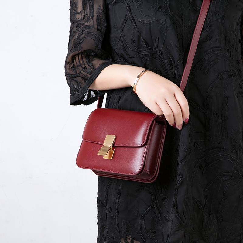 Genuine Leather Women Bags Colors CM Mini Handbag Burgundy Classic Flap Nude