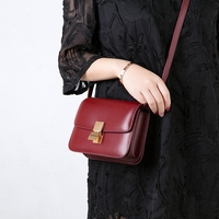 [Hely Coptar] Genuine Leather Women Bags 2Colors 18CM Mini Handbag Burgundy Classic Flap Nude Pink Vintage Fashion Designer
