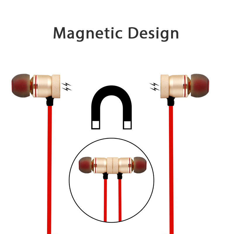 2017 New Magnets Wireless Bluetooth Earphone Handfree Headset With Mic Music Sports Stereo Earphone Noise Reduction For Phone
