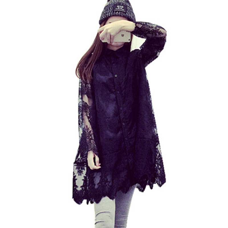 Plus Size 4XL Women Clothing Spring Dress Long Sleeve Organza Lace Shirt Dress Ukraine Vestidos Black Casual Party Dresses C2967