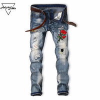 Aelfric Eden Men's Biker Flower Patch Design Embroidered Jeans Men Casual Pants Ripped Hole Straight Fit Retro Denim Jean Yg111