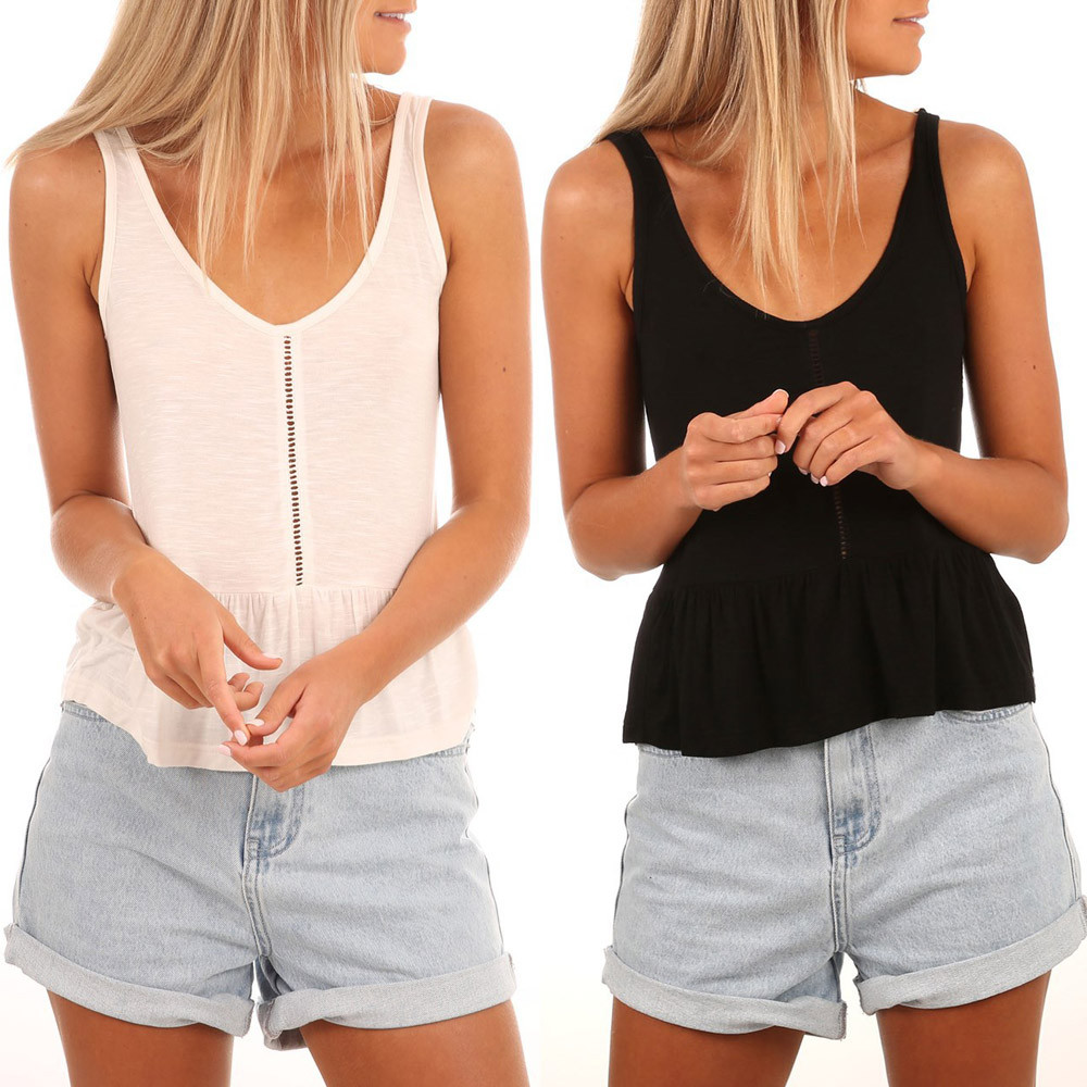 2018 new fashion womens v-neck sexy vest fashion camisole sleeveless t-shirt hollow out tank tops with high quality hot sale#35
