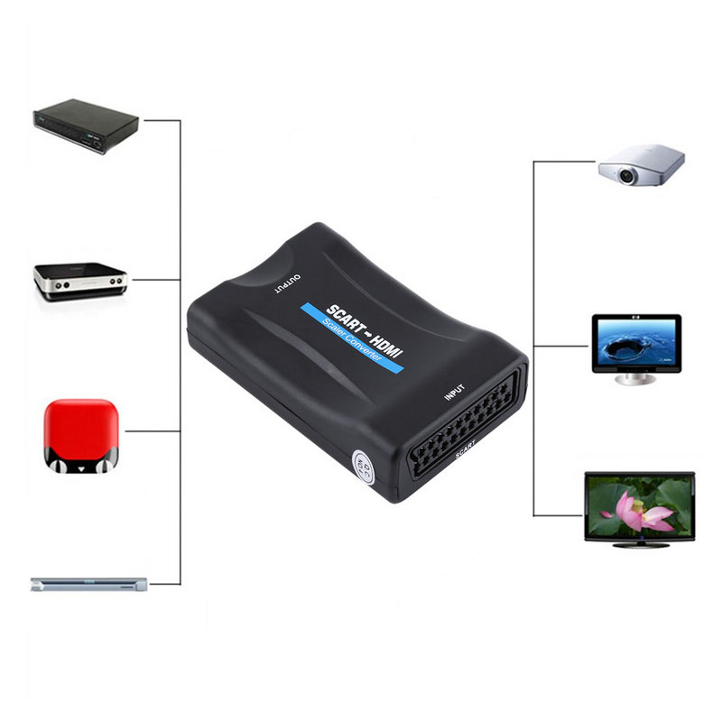 720P 1080P Scart to HDMI Converter Audio Video Converter Scaler Adapter Scart to HDMI Video Converter