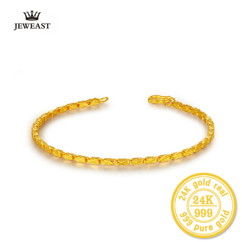BBB 999 Gold Bracelet Genuine Gold Jewelry Boutique Fashion Female 24K pure Gold Bracelet Gifts SOLID FOR SELF GRIL BANGLE 2017