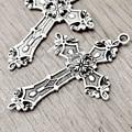 10Pcs Antique Silver Tibetan Silver Tone 56.5x37x1.5mm Cross Religious Charm Pendants Zinc Alloy Fit Bracelet Necklace TS2584