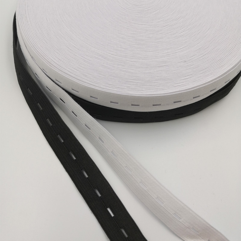 5Meter/lot Rubber Bands 15/20/<font><b>25MM</b></font> Button Hole Knit <font><b>Elastic</b></font> Bands Ribbon Tape White/Black Wire Webbing DIY Sewing Accessories image