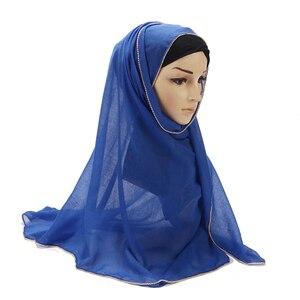 Image 4 - Nowy przyjście złoty łańcuch hidżab szalik perły muzułmańskie bawełniane szale łańcuszki zwykły okłady szale Maxi moda pokrowiec na główkę szaliki