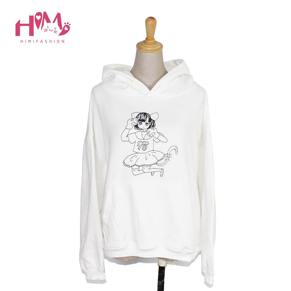 Roztomilý kreslený tištěné s kapucí bílé barvy měkké sestry krásná dívka student preppy styl dlouhé mikiny podzim zima 2017 nová mikina
