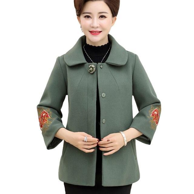 elegant middle aged women autumn winter wool coats plus size