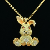 High Quality Animal Clear Crystals Bunny Rabbit Necklace Pendant SN2961 4 Free Shipping
