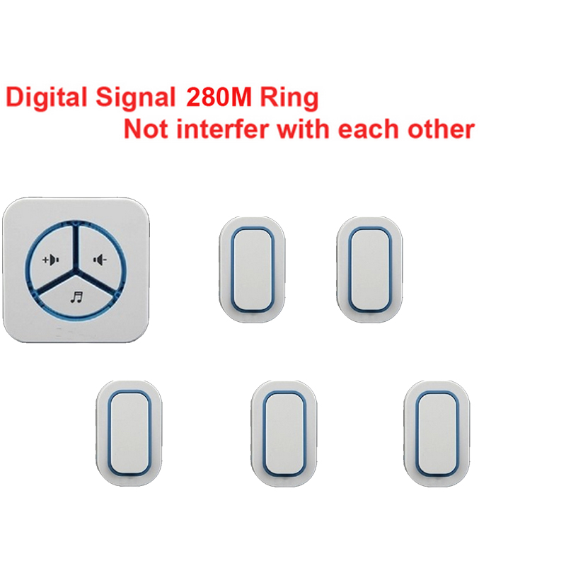 bell set 5 emitter+1 receiver doorbell Waterproof 280m work wireless doorbell,wireless door chime,wireless 48 melodies door bell new door ring waterproof 280m long range wireless doorbell wireless door chime wireless bell door bell 48 melodies