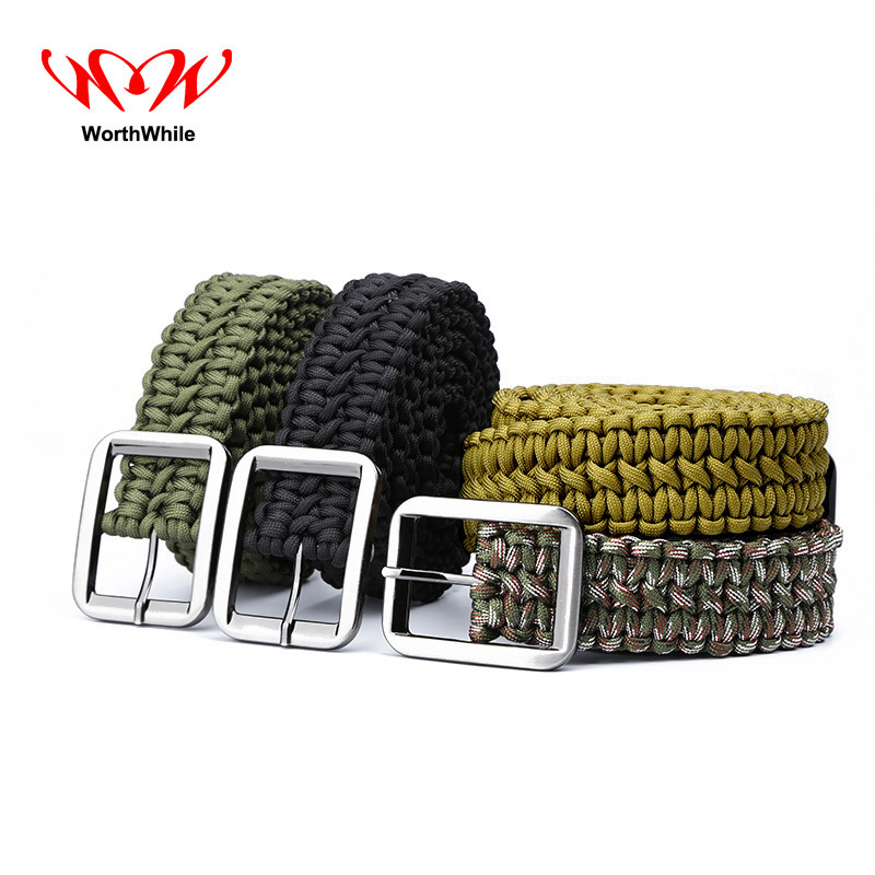 WorthWhile Paracord 550 Survival Belt Rope Hand Made Tactical Military Bracelet Outdoor Accessories Camping Hiking Equipment
