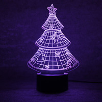 Novelty Christmas Tree Lamp 3D LED Night Light USB Visual Table Lamp Lampara Christmas Decor For