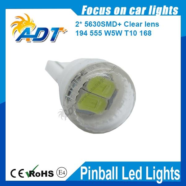 100pcs Round lens 2 led 5630 DC 12V T10 555 W5W 194 168 Car LED Lights Lamp/ Pinball Game Machine Bulbs