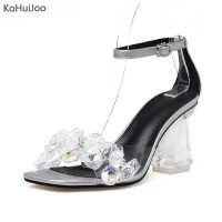 KoHuiJoo 2018 Transparent High Heels Crystal Women Shoes Summer Pumps Clear Material Shoes Woman Sandals High
